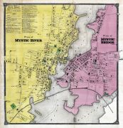 Mystic River Map, Mystic Bridge Map, New London County 1868