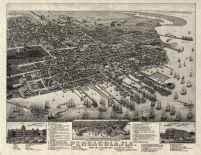Pensacola 1885 Bird's Eye View 17x21, Pensacola 1885 Bird's Eye View