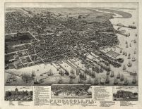 Pensacola 1885 Bird's Eye View 24x30, Pensacola 1885 Bird's Eye View