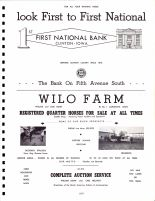 Ad - First National Bank, Wilo Farm, William Dunn and Carl Hellweg, Clinton County 1966