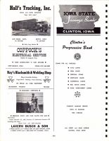 Ad - Hall's Trucking, Iowa State Savings Bank, Coppock's Elictrical Service, Ray's Blacksmith and Welding Shop, Clinton County 1966
