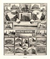 Muscatine, Roach and Musser, Hotel Grand, Barry Manufacturing, Hershey Hospital, Jackson School, Iowa State Atlas 1904