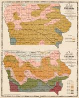 Rainfall Map and Mean Annual Temperature Map, Iowa State Atlas 1904
