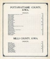 Table of Contents, Mills and Pottawattamie Counties 1913