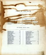 Table of Contents, Van Buren County 1918