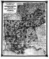 County Map of Tennessee, Kentucky, Alabama, Mississippi, Arkansas, and Louisiana, Bond County 1875 Microfilm