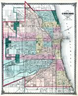 Chicago City Map, Illinois State Atlas 1875