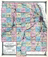 Cook, DuPage, Kane, Kendall and Will Counties Map, Illinois State Atlas 1875