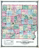 Douglas, Coles, Cumberland, Clark, and Edgar Counties Map, Illinois State Atlas 1875