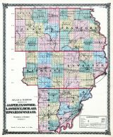 Jasper, Crawford, Lawrence, Richland, Edwards and Wabash Counties Map, Illinois State Atlas 1875