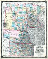 kansas nebraska dakota and minnesota states map illinois state atlas 1875