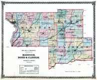 Madison, Bond and Clinton Counties Map, Illinois State Atlas 1875