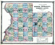 Mercer, Henderson, Warren and Knox Counties Map, Illinois State Atlas 1875