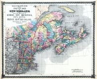 New England and the Provinces of Quebec, New Brunswick, Nova Scotia, and Prince Edward Island Map, Illinois State Atlas 1875