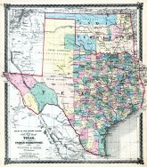 Texas and Indian Territory Map, Illinois State Atlas 1875
