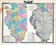 Political Map of Illinois, Wortherns Geological and Climate Map of Illinois, Illinois State Atlas 1876