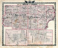 Richland and Lawrence Counties Map, Centralia, Fairfield, Illinois State Atlas 1876
