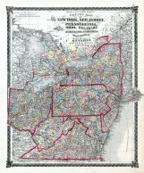 County Map New York, New Jersey, Pennsylvania, Ohio, Delaware, Maryland, Virginia, West Virginia and Province of Ontario, La Salle County 1876