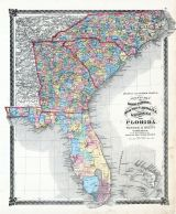 County Map of North Carolina, South Carolina, Georgia and Florida, La Salle County 1876