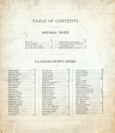 Table of Contents, La Salle County 1892