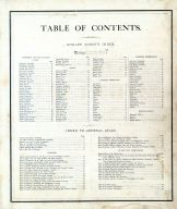 Table of Contents, Shelby County 1875