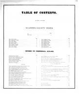 Table of Contents, Warren County 1872