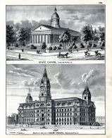 State Capitol, Marion County Court House, Indiana State Atlas 1876