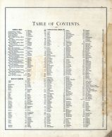 Table of Contents 001, Indiana State Atlas 1876