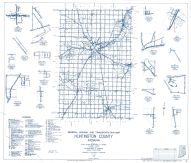 Huntington County 1960 - Bippus, Monument city, Banquo, Mahon, Bowerstown, Lancaster, Majenica, Indiana State Atlas 1958 to 1963 Highway Maps
