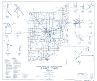 Jennings County 1962 - Queensville, Scipio, Hayden, Lovett, Paris Crossing, Commiskey, Brewersville, Zenas, Indiana State Atlas 1958 to 1963 Highway Maps