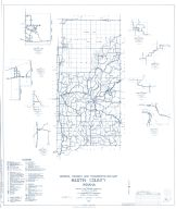 Martin County 1963 - Crane Village, Burns City, Whitefield, Indian spring, dover, Hill, Trinity Springs, Indiana State Atlas 1958 to 1963 Highway Maps