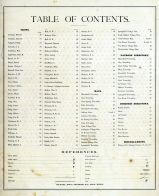 Table of Contents, Lagrange County 1874