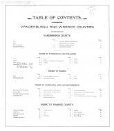 Table of Contents, Vanderburgh and Warrick Counties 1899