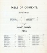 Table of Contents, Osage County 1899