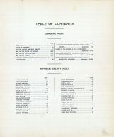 Table of Contents, Republic County 1923