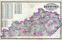 Kentucky County and Rail Road Map, Bourbon County 1877