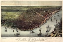 New Orleans 1885 Bird's Eye View 17x25, New Orleans 1885 Bird's Eye View