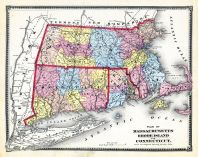 State Map Massachusetts - Rhode Island - Connecticut, Franklin County 1871
