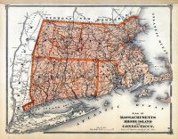 State Map Massachusetts - Rhode Island - Connecticut, Middlesex County 1875
