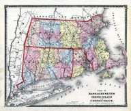 State Map Massachusetts - Rhode Island - Connecticut, Worcester County 1870