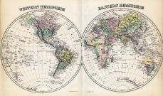 Western and Eastern Hemispheres Map, Baltimore and Anne Arundel County 1878
