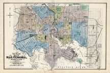 Baltimore City Map, Baltimore and Howard County 1878