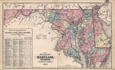 Maryland and Delaware Railroad Map 1877, Cecil County 1877