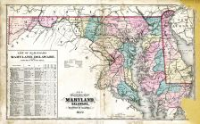 State Map of Maryland - Delaware - D.C., Washington County 1877