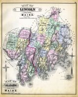 Lincoln And Sagadahoc Counties Map, Maine State Atlas 1884