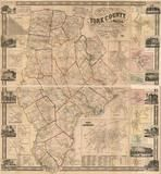 York County 1856 Wall Map