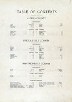 Table of Contents,final, Alpena - Presque Isle - Montmorency Counties 1903