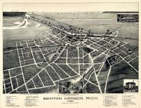 Benton Harbor 1889 Bird's Eye View 17x21, Benton Harbor 1889 Bird's Eye View