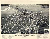 Benton Harbor 1889 Bird's Eye View 24x31, Benton Harbor 1889 Bird's Eye View