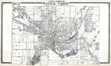 Battle Creek Outline Street Map, Calhoun County 1916